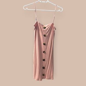 Pink Ribbed Button Dress